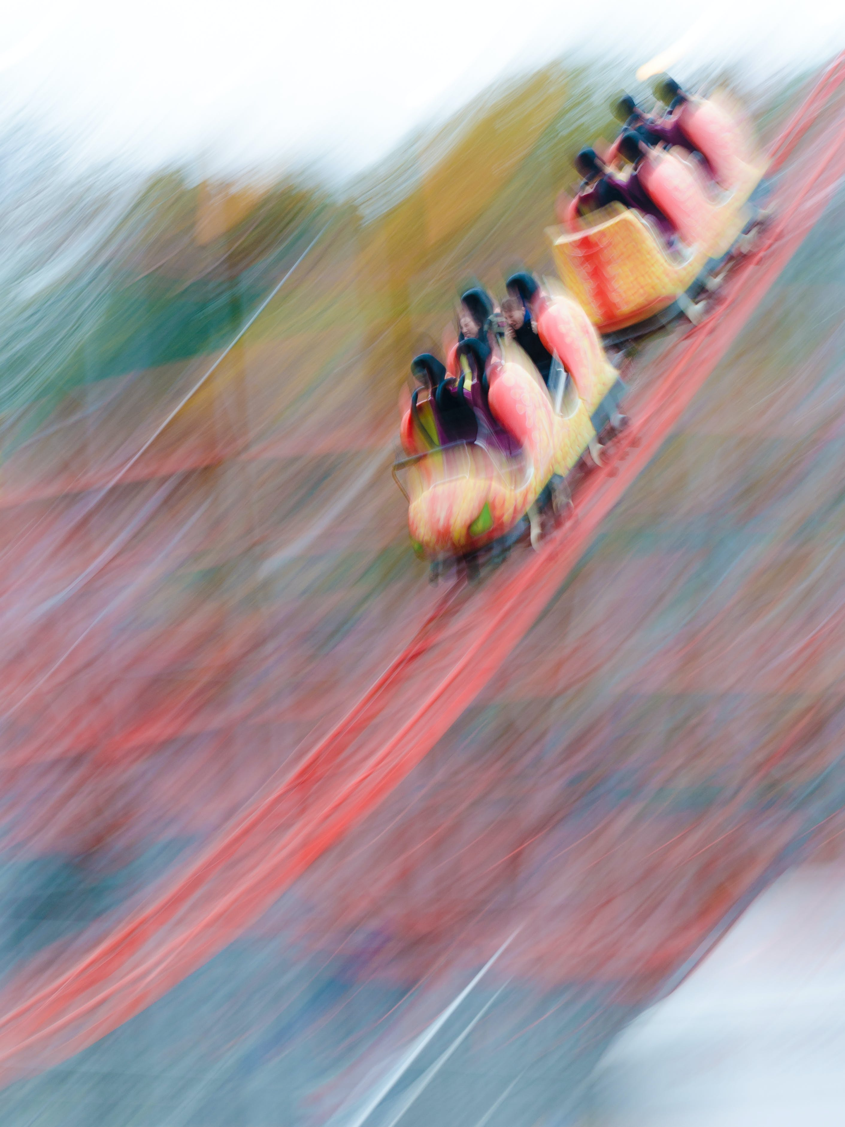 Free stock photo of blurred lines, high speed, motion blur, roller coaster