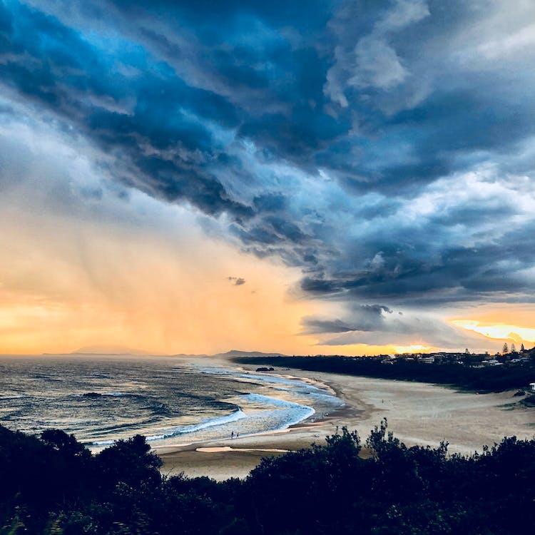 búrka, krajina pri mori, kývať