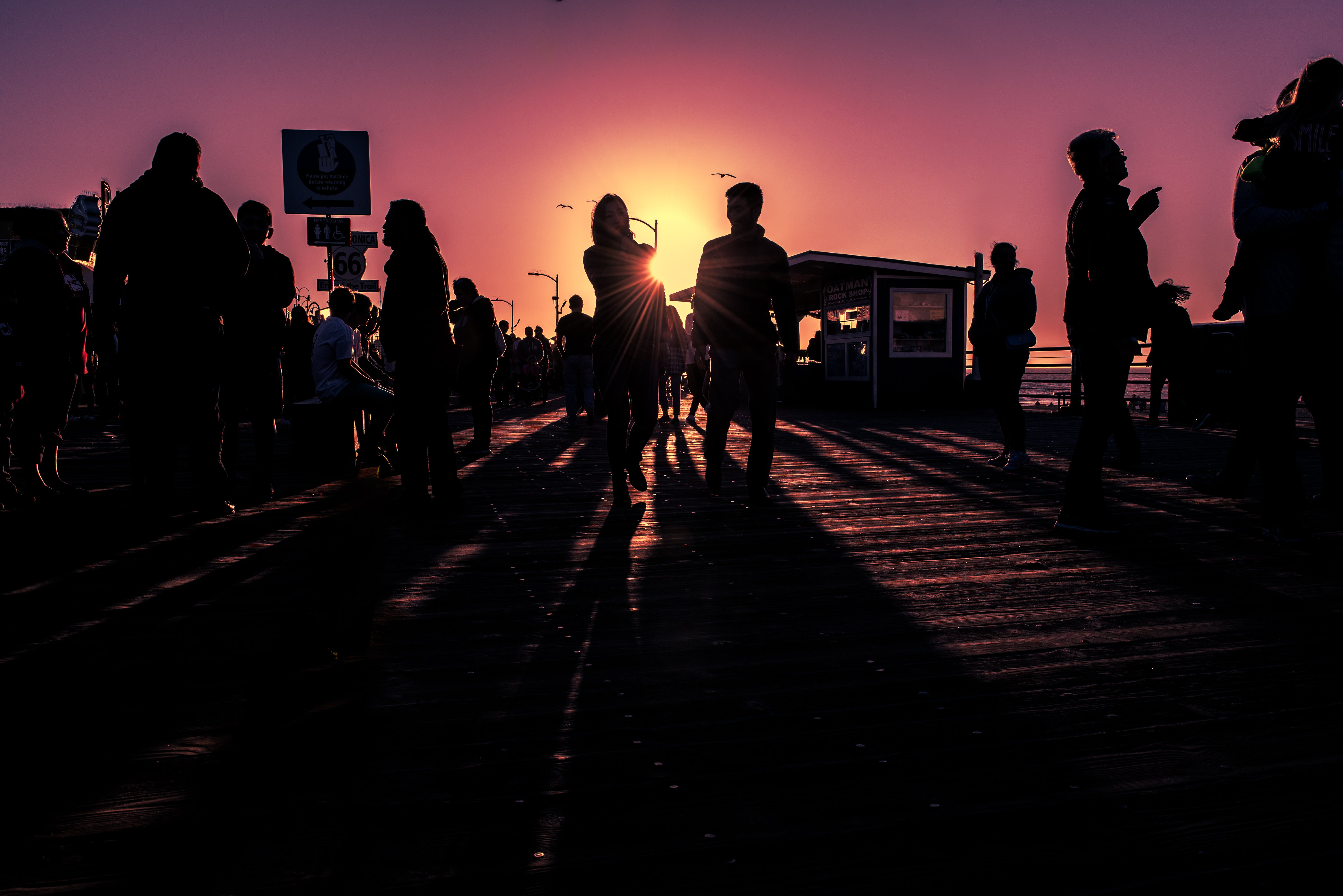 Silhouette Photography of People Standing on Dock