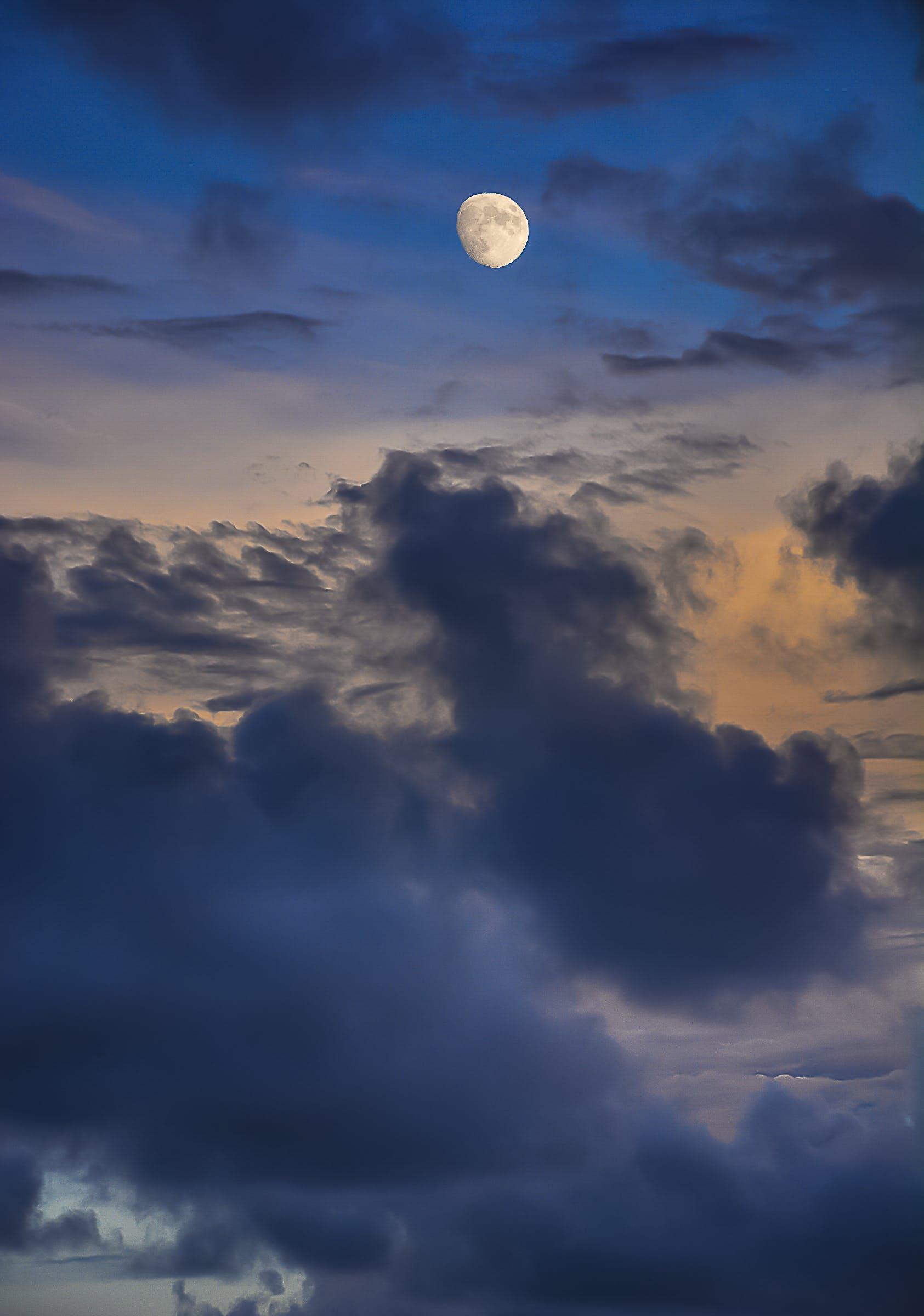 atmosféra, denní světlo, luna