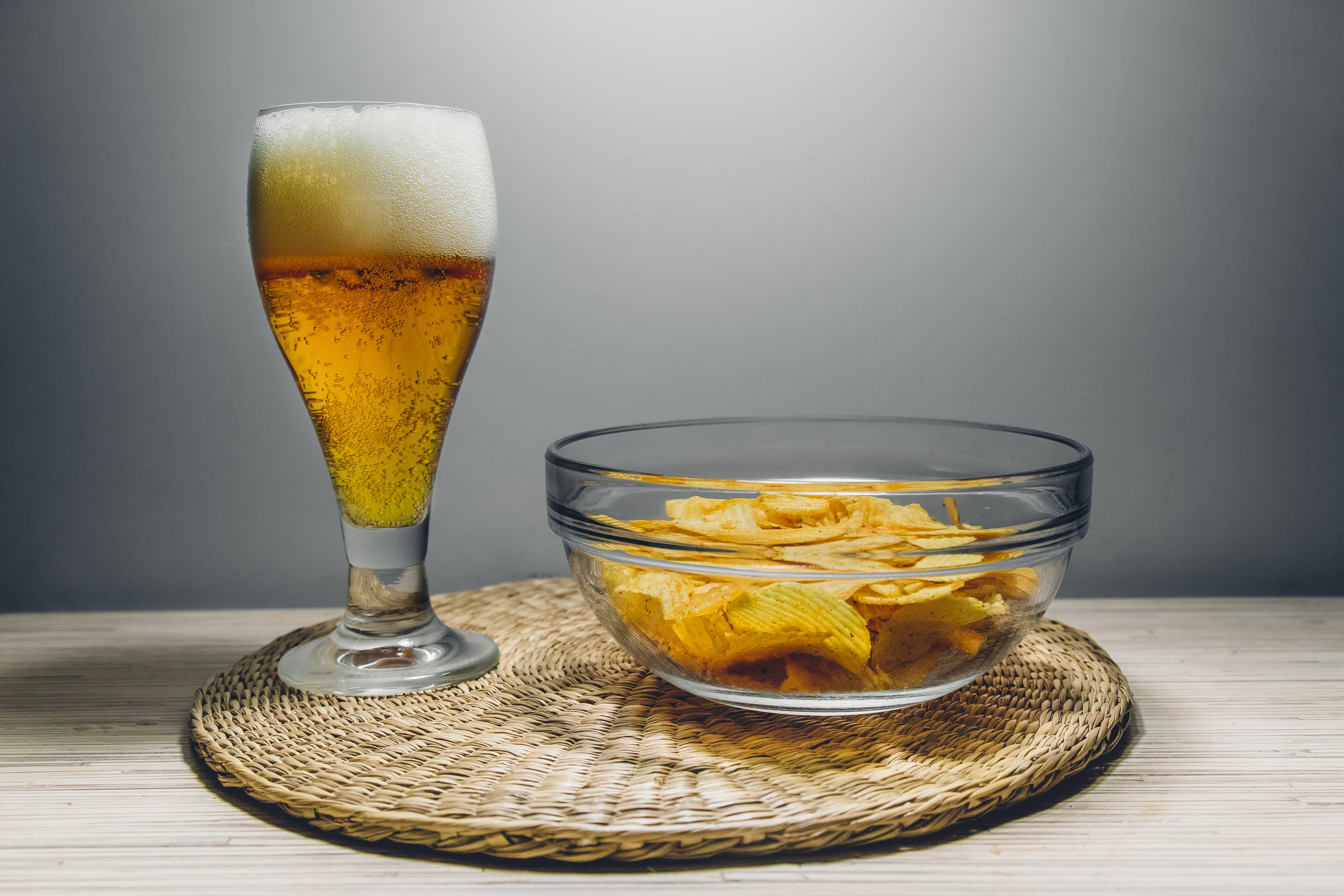 Clear Glass Bowl Filled With Chips