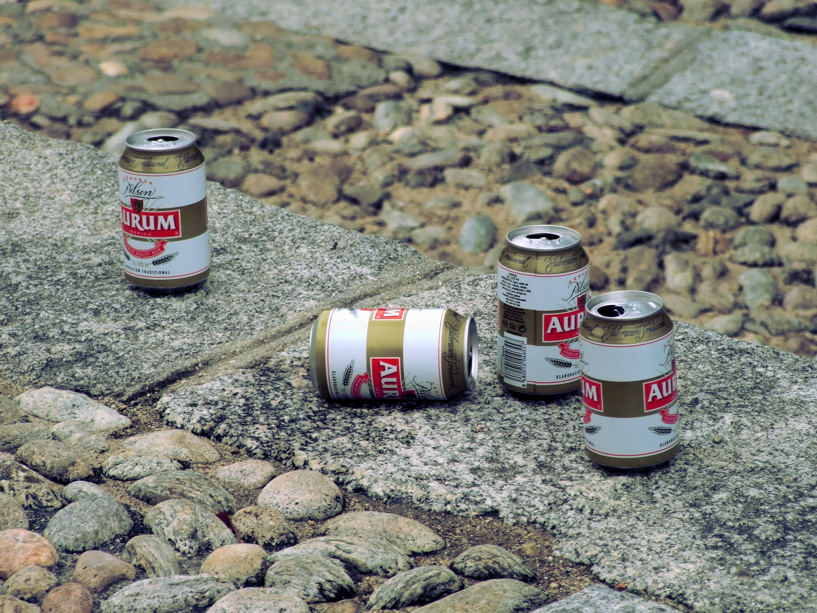Free stock photo of beer, cans, cobblestone