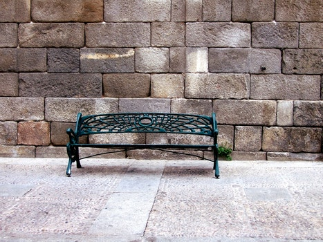 Free stock photo of bench, brick wall