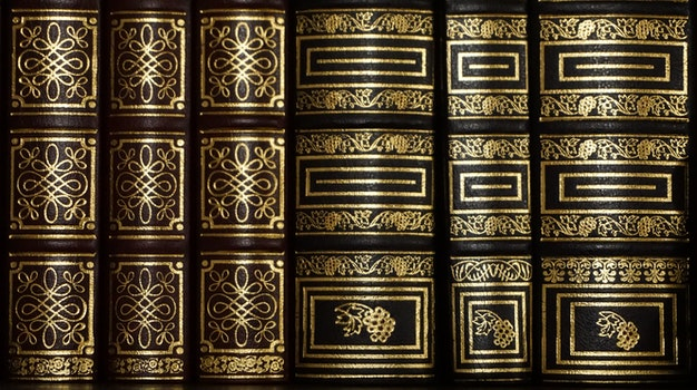 Black and Golden Stacked Book