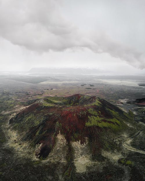An Aerial Shot of a Volcano