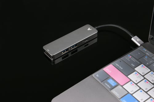 A USB Hub Plugged into a Laptop