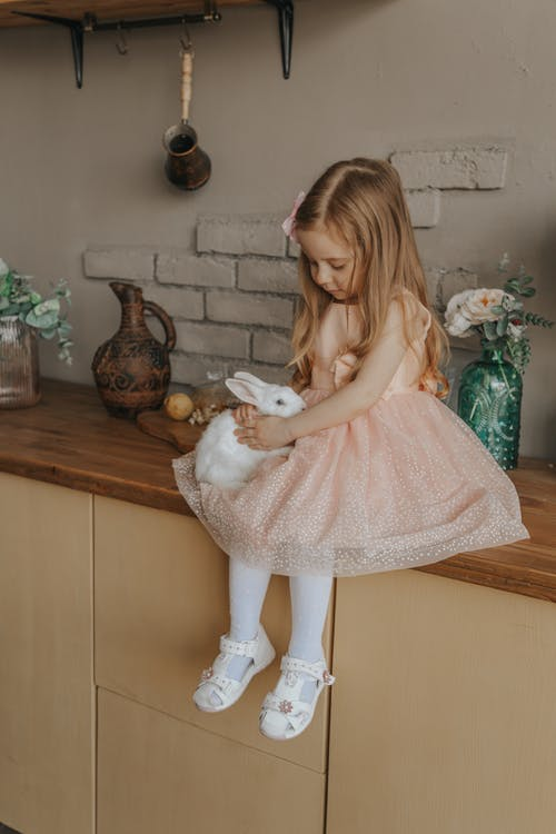 Delicate little child in dress sitting on table with white fluffy rabbit during Easter celebration at home