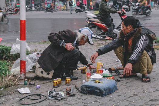 Free stock photo of street, life, poor, father