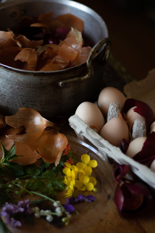Onion peels in pot near eggs and wildflowers