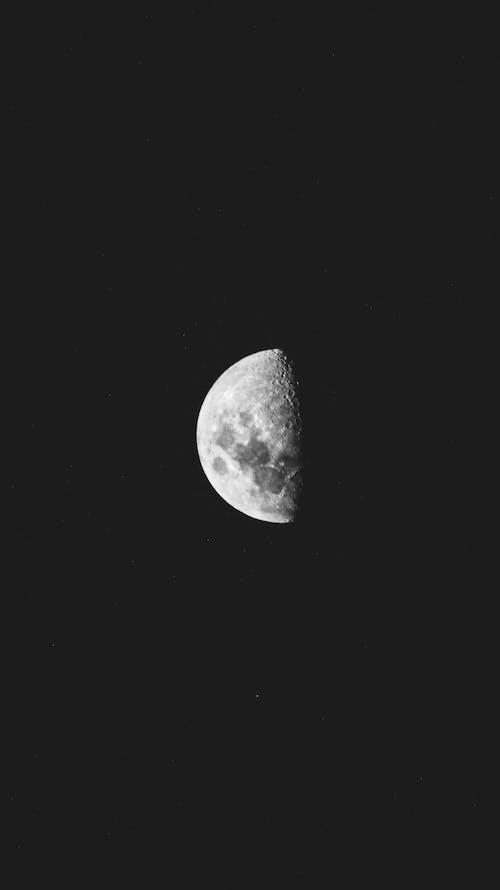 半月, 單色, 在晚上 的 免费素材图片