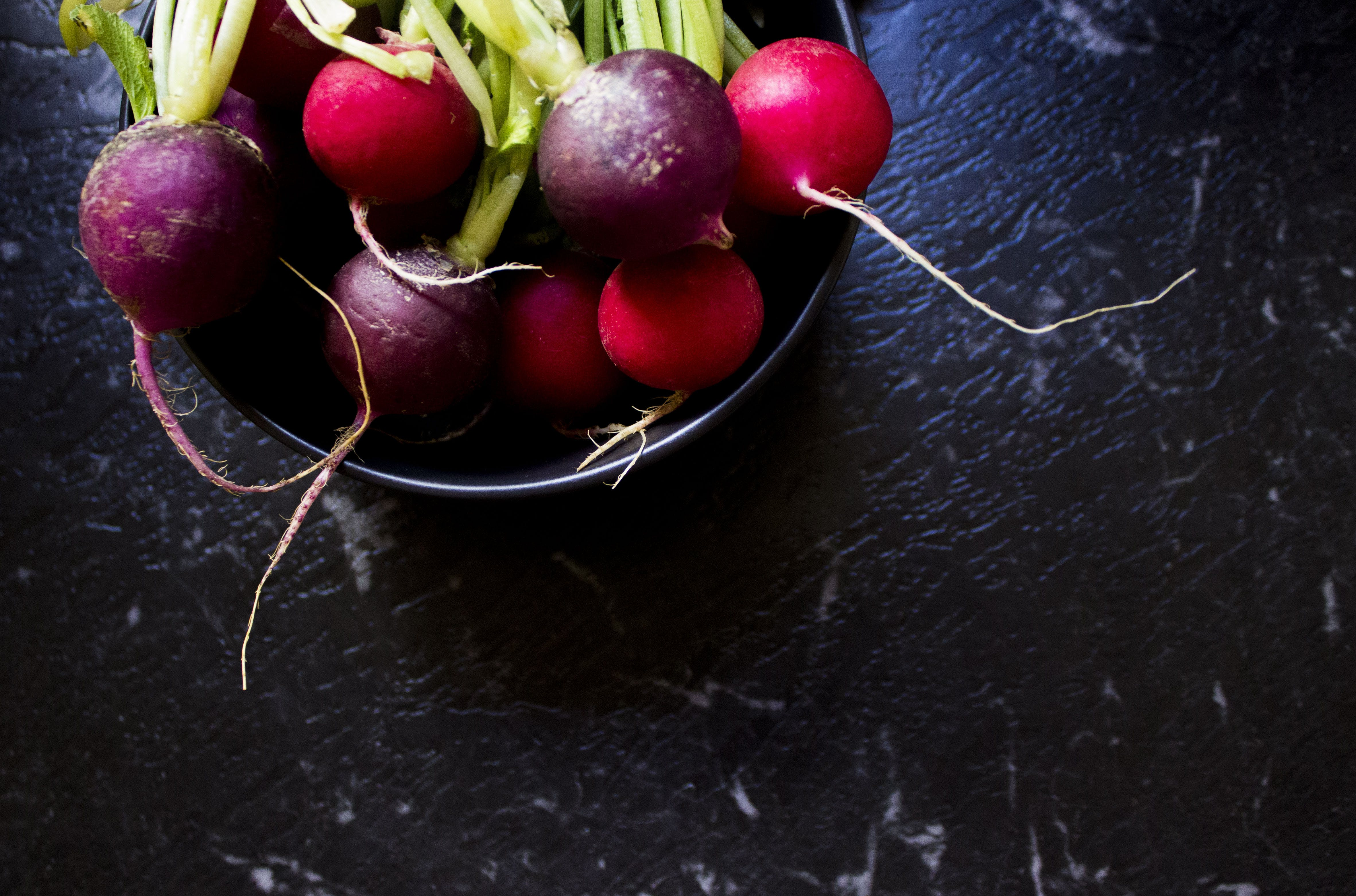 Purple And Red Radish in Bowl