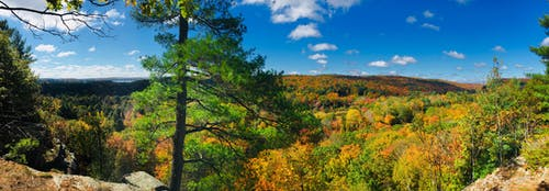 Free stock photo of blue skies, fall foliage, Fall panorama in the highlands