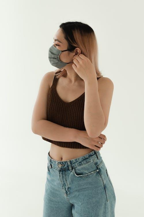 Gratis stockfoto met Aziatisch, denim, gezichtsmasker