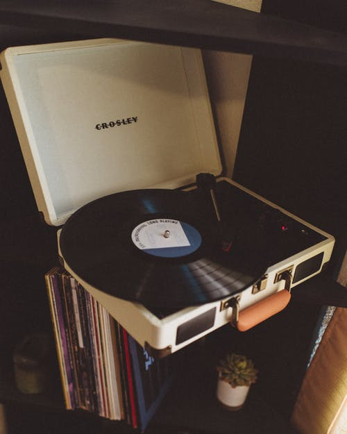 Black and White Crosley Turntable