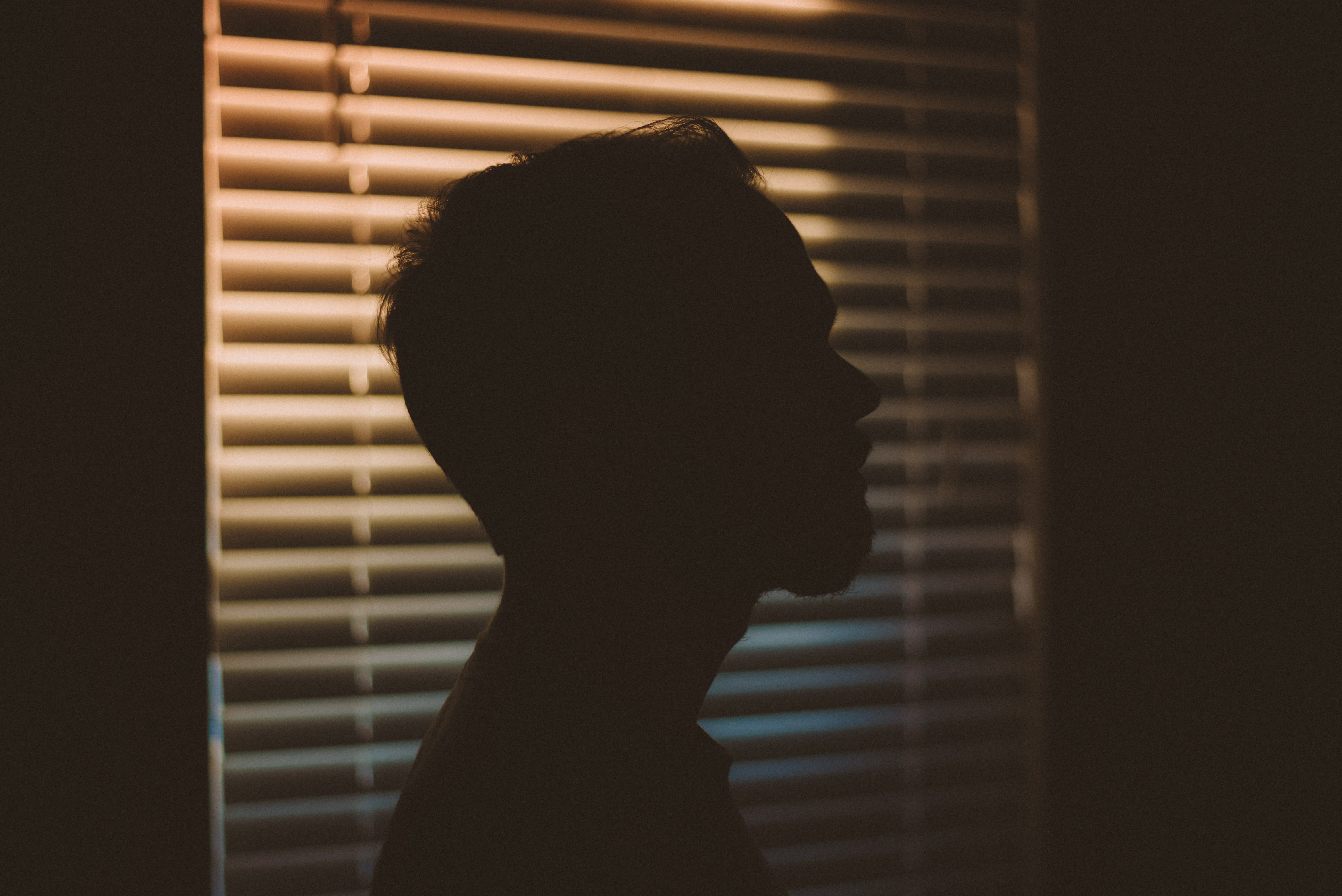 Man's Silhouette Near White Window Blinds