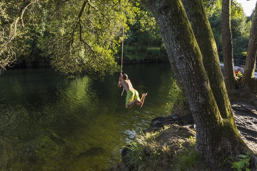Free stock photo of water, jumping, rope, river