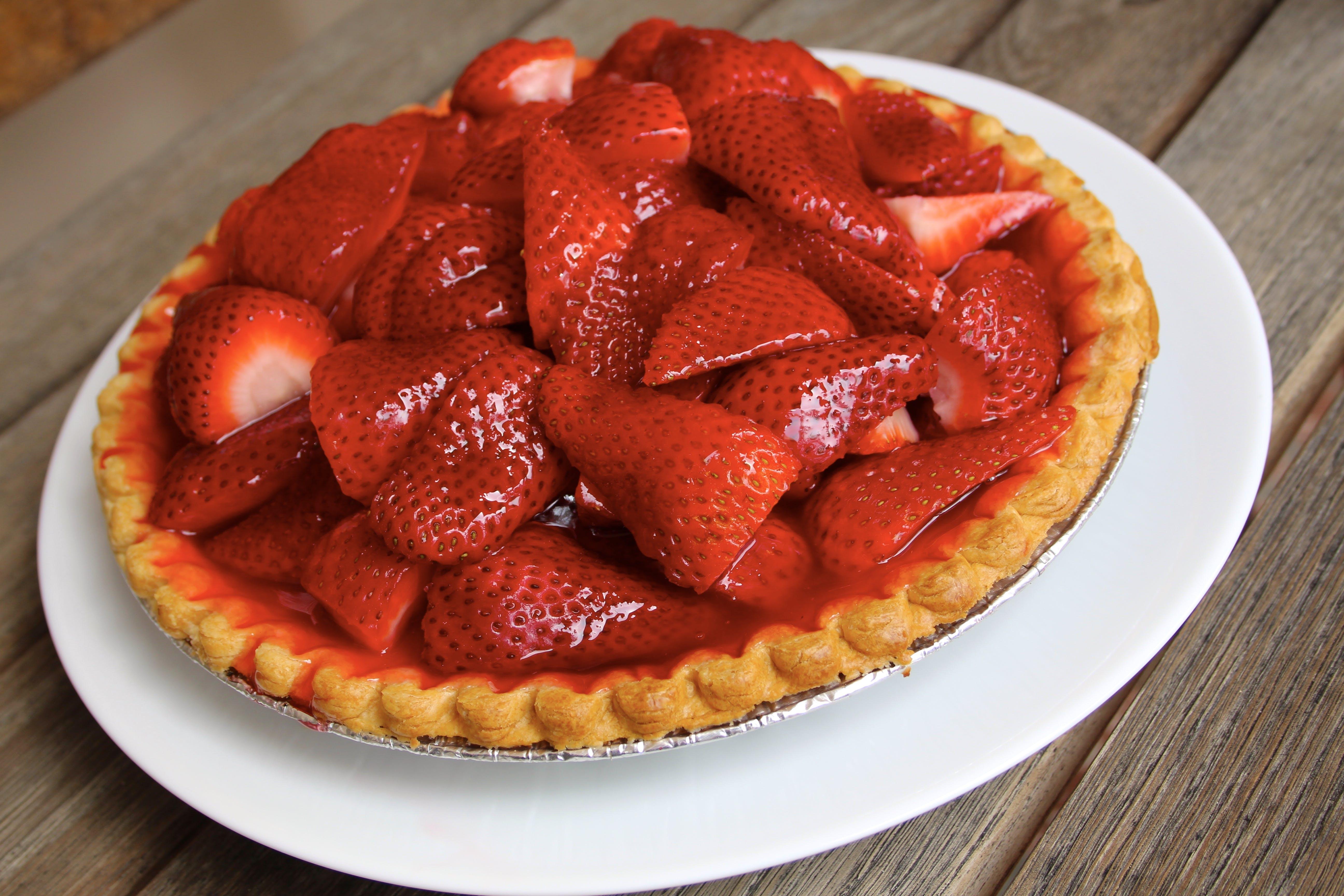 Strawberry Pie On White Plate