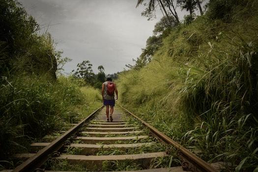 Man Walking In Train Railroad