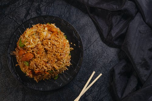 Appetizing Asian dish with rice