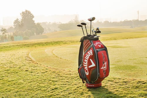 Professional golf bag with golf equipment standing on green golf field against trees and buildings on background in summer sunny morning