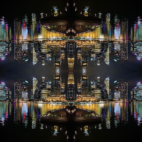 Free stock photo of asymmetry, city at night, singapore