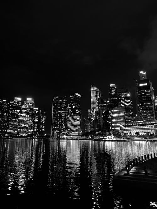Free stock photo of city at night, monochrome photography, singapore