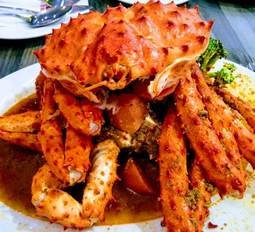 Cooked Crab on White Ceramic Palte