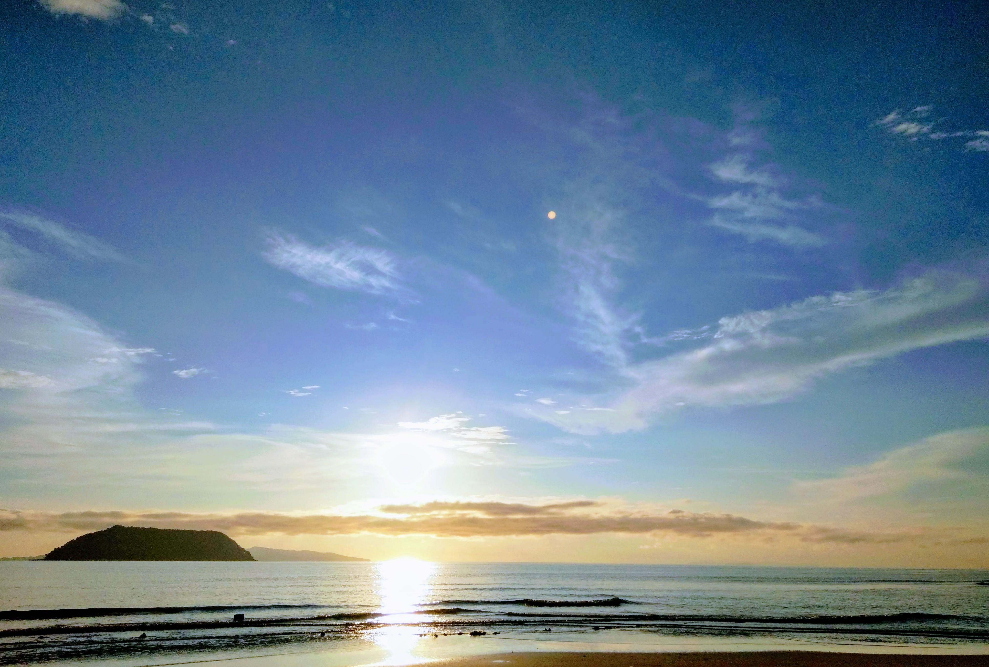 Panoramic Photography of Beach With Sun