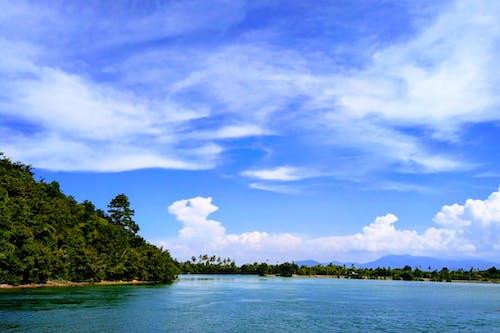 ağaçlar, bulutlar, dağlar, deniz manzarası içeren Ücretsiz stok fotoğraf