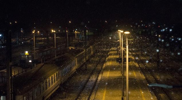 Free stock photo of snow, light, train, winter