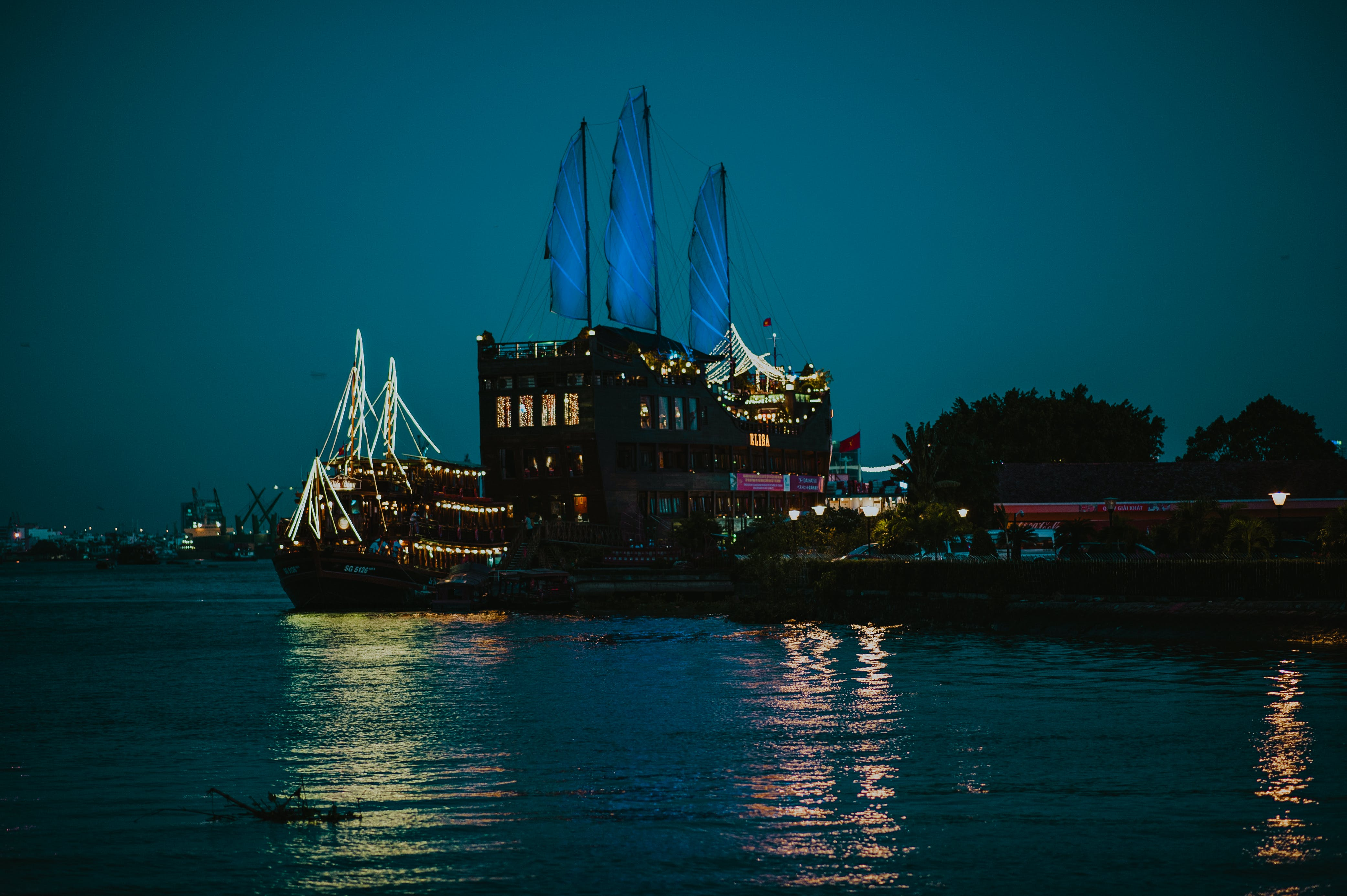 Black Cruiser Ship On Sea Dock