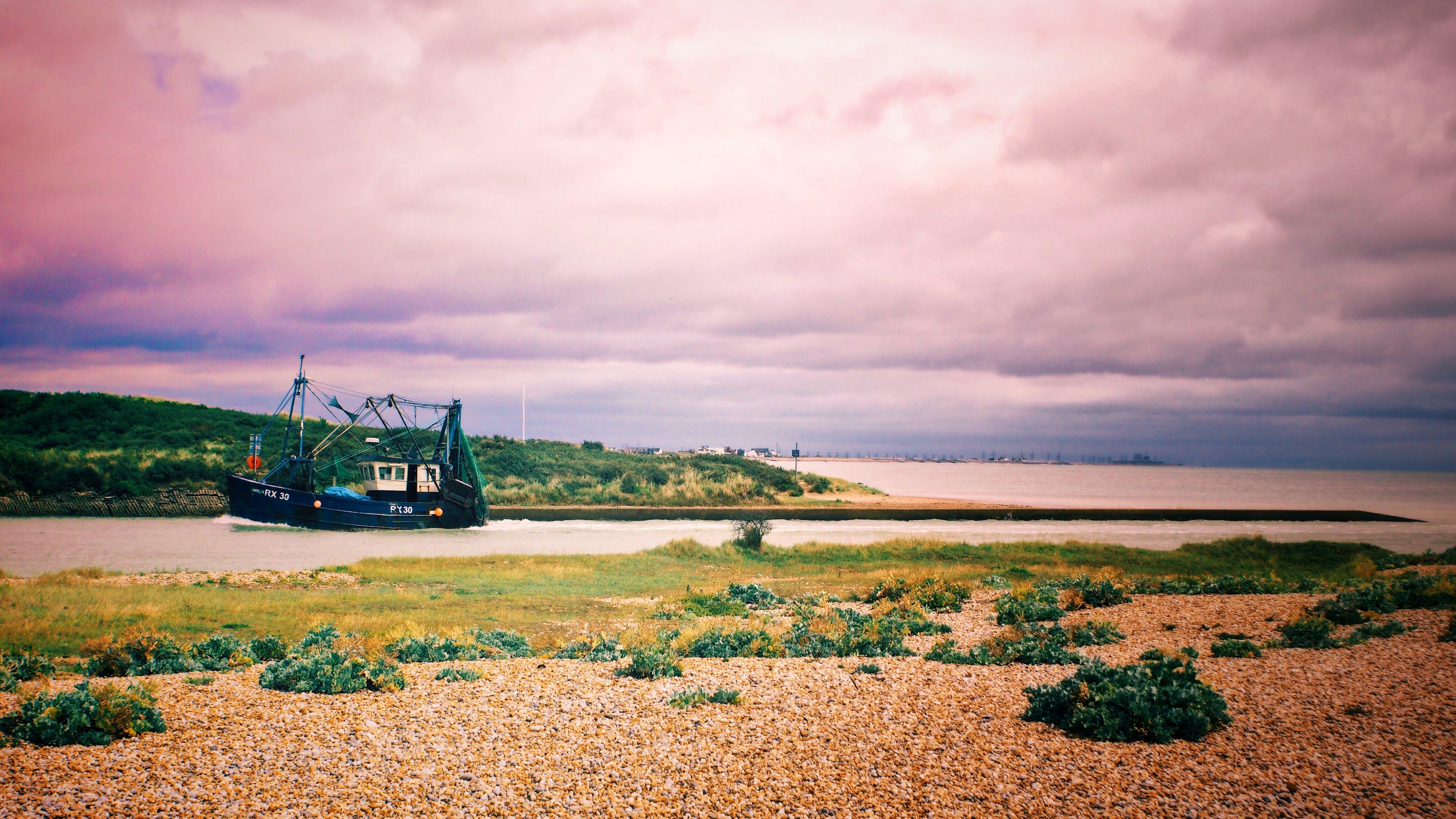 Black Galleon Ship on River Photo