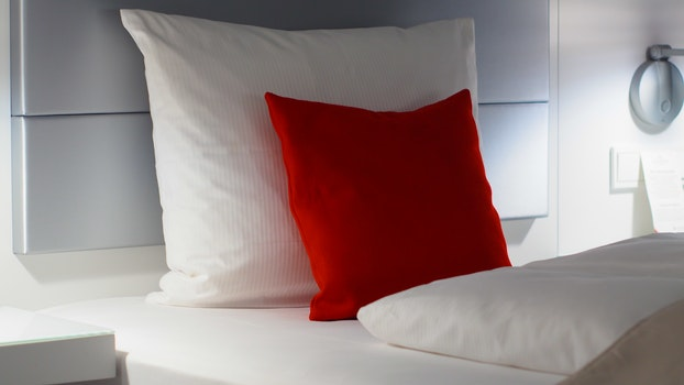 Red and White Bed Pillows