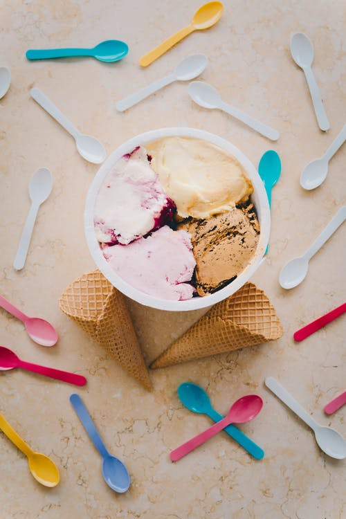 Ice Cream in White Ceramic Bowl
