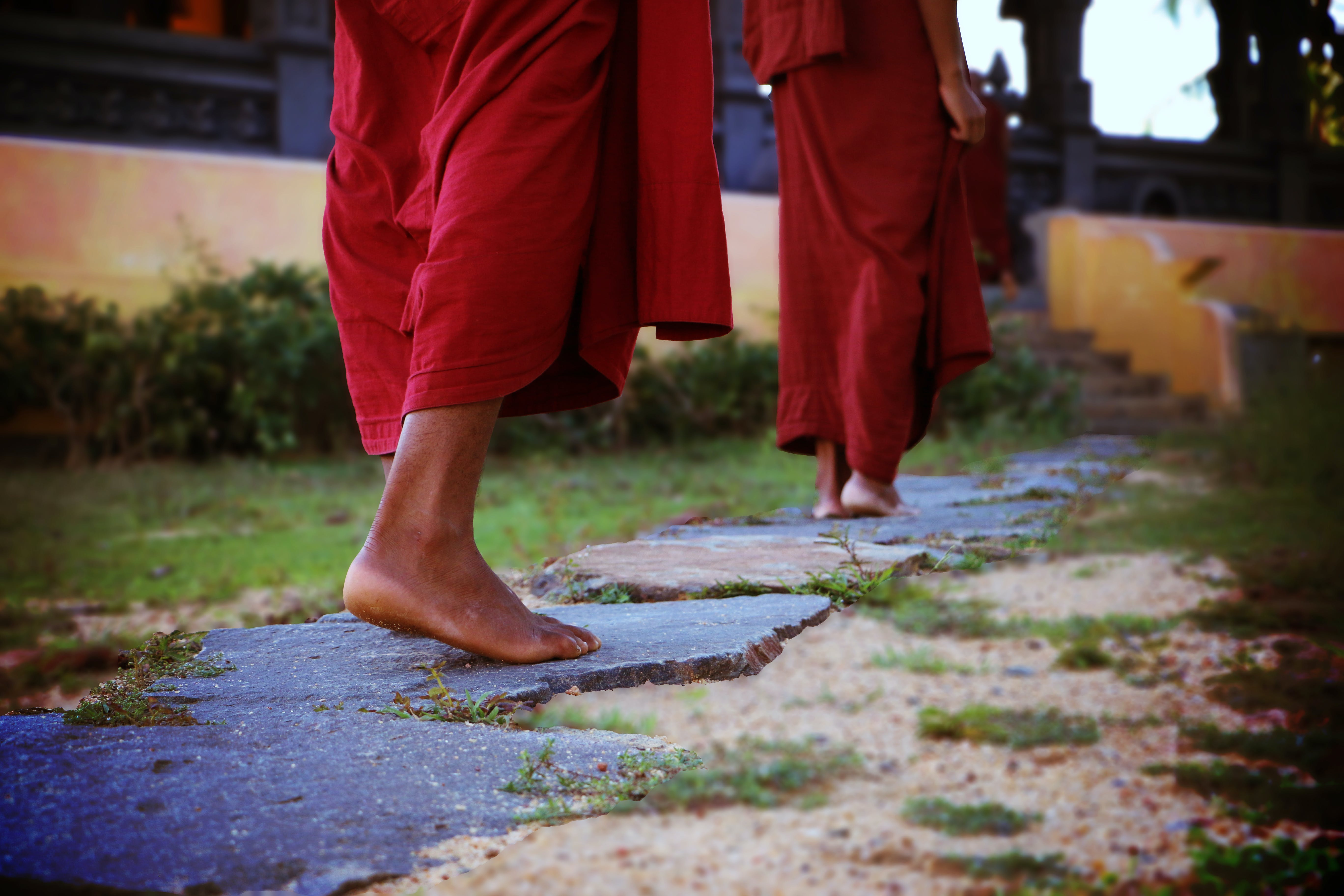 Two Human Wearing Monk Dress Walking on the Pathway