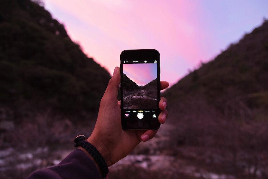 apple, camera, hand