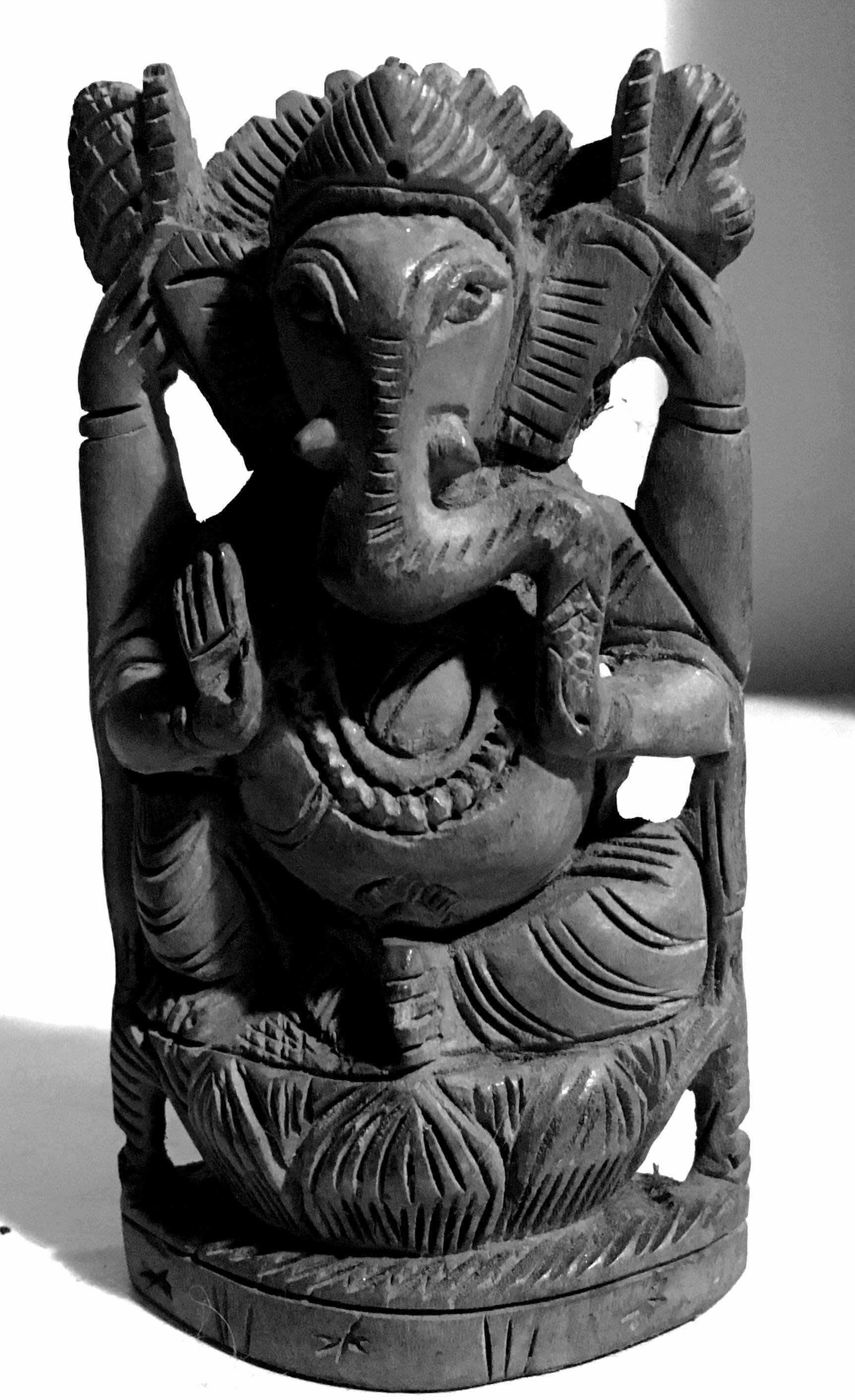 Free stock photo of india, god, ganesha, black and-white