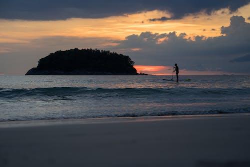 Free stock photo of sunset beach, surf scene