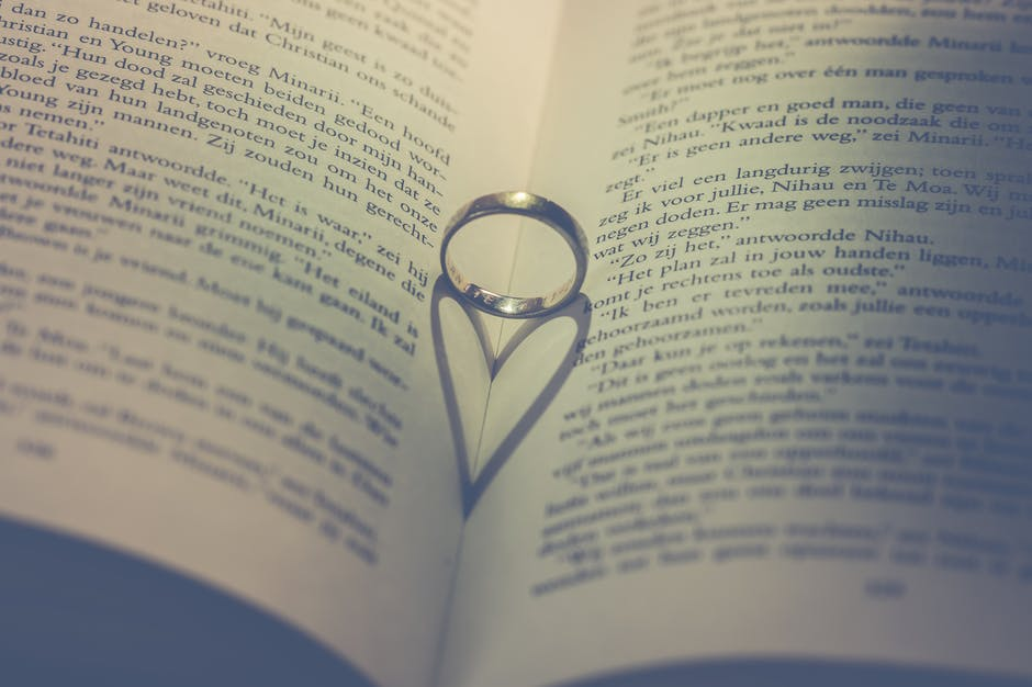Photography of silver ring on book