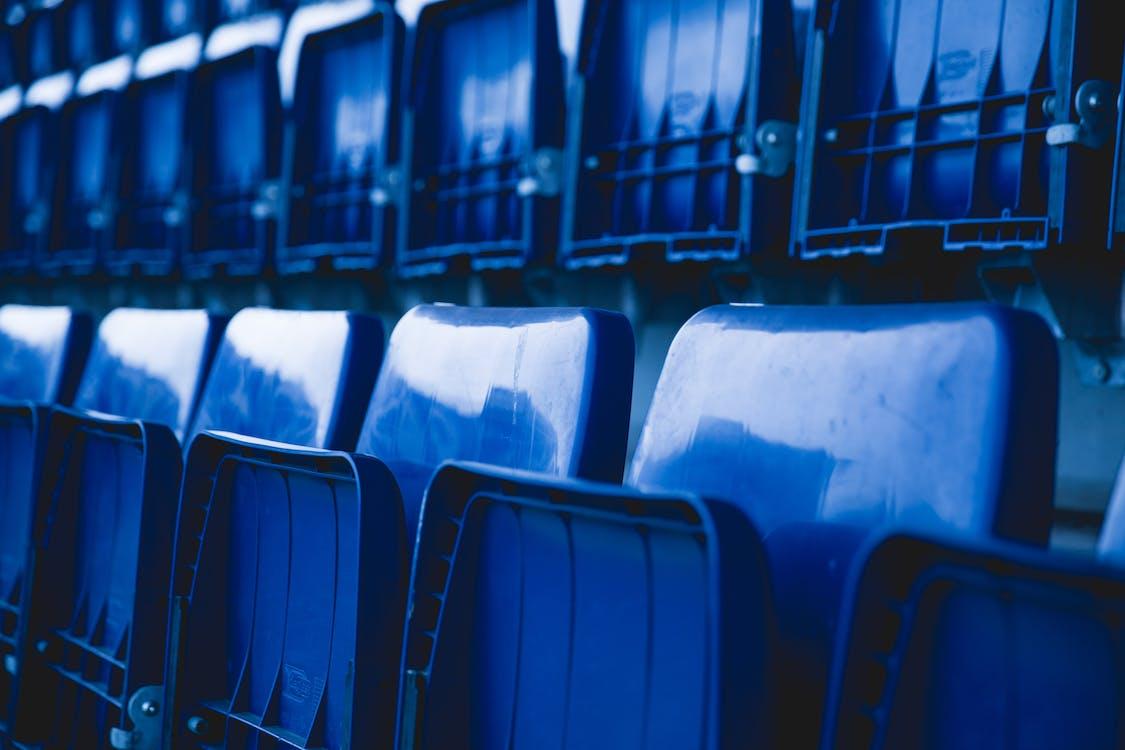 krzesła, niebieski, pusty