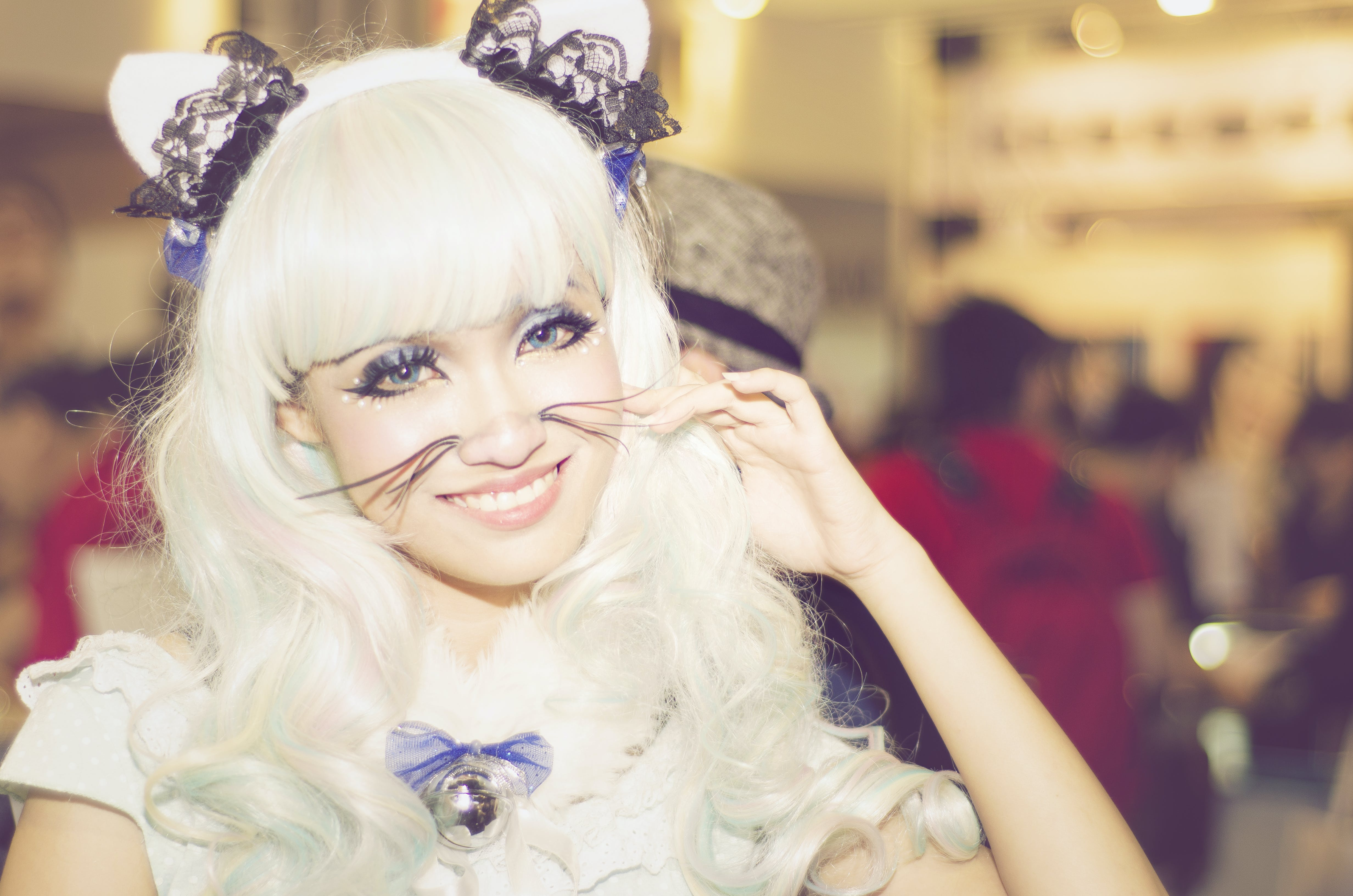 Woman Wearing White Anime Character Costume