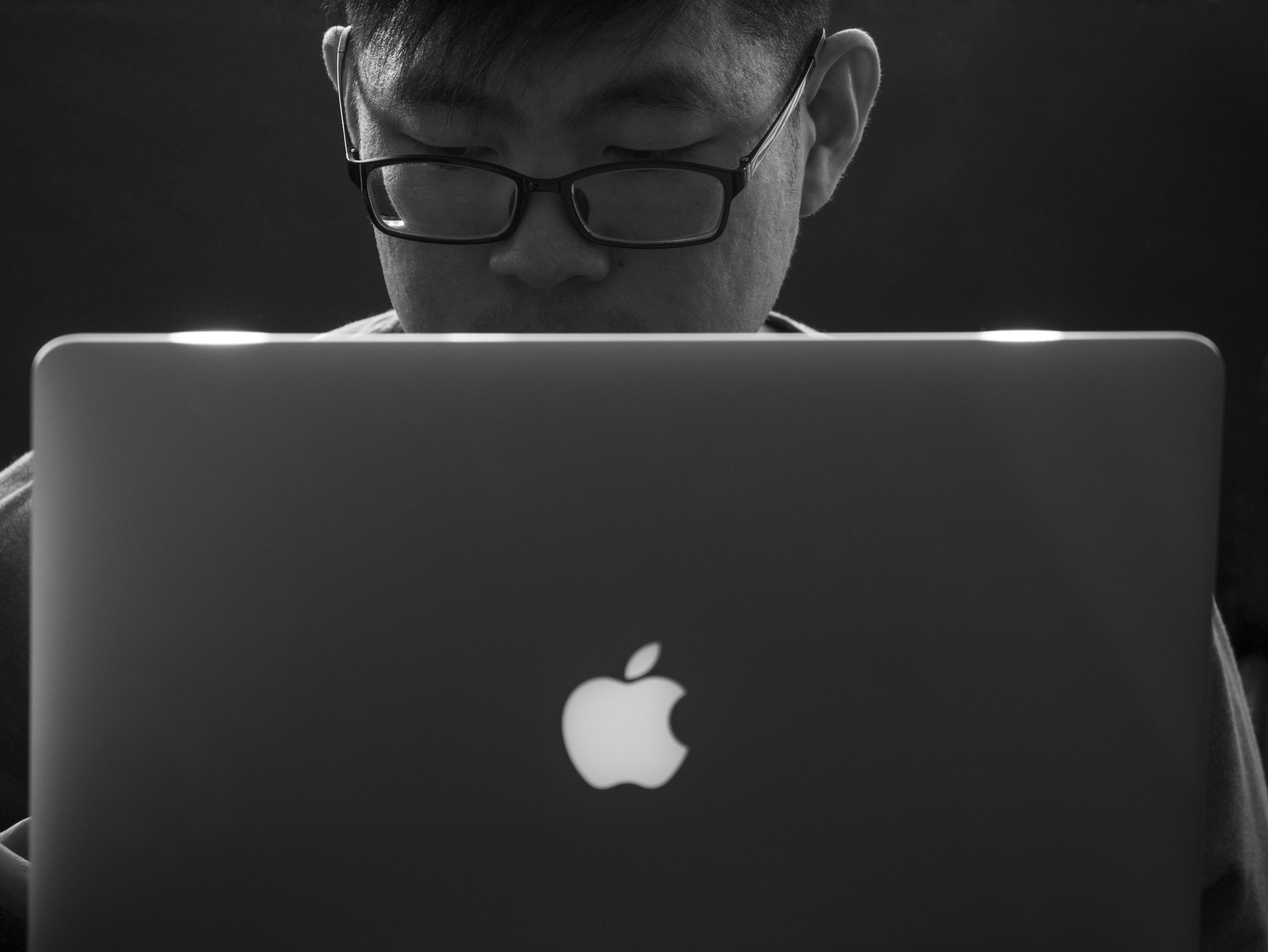 Free stock photo of apple, black and white, computer, laptop
