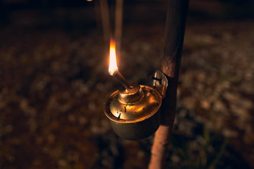 Lighted Candle in Brass Holder