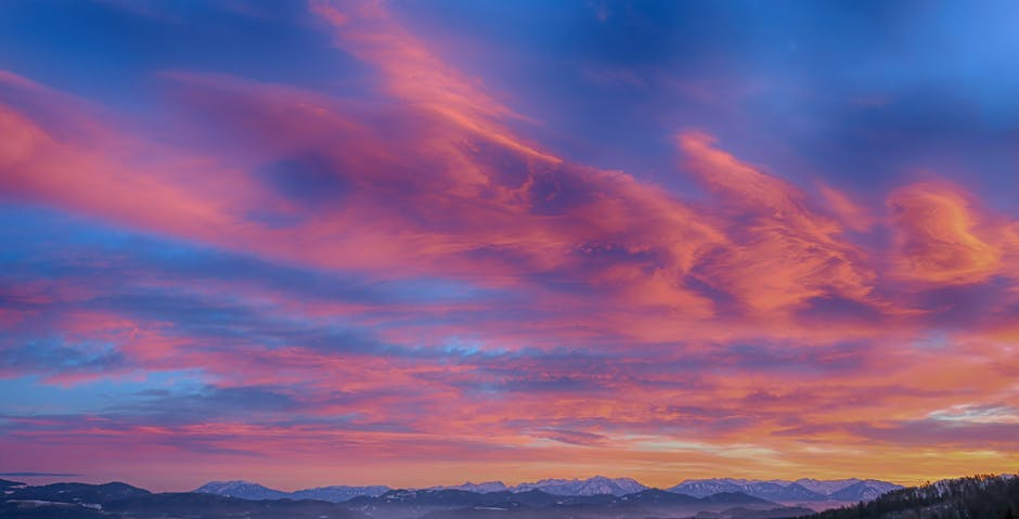 Photo of mountains during sunset