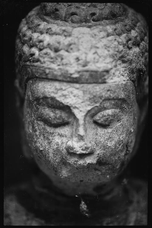 Ancient sculpture of Buddha head