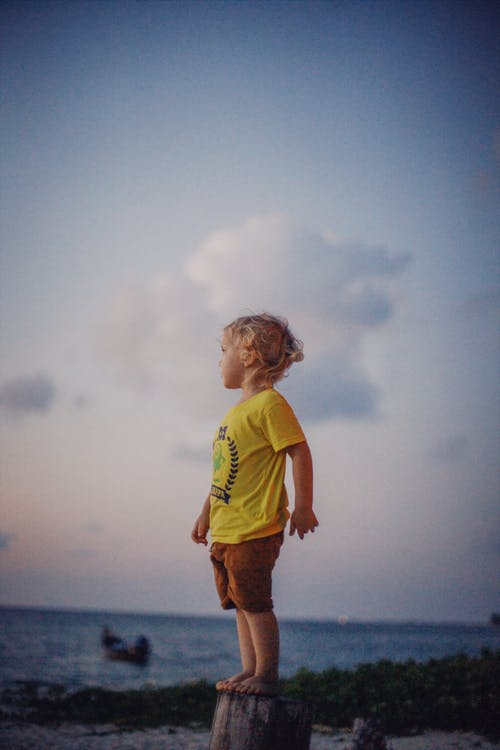 Full body of little barefoot boy looking away while standing on stump near sea against cloudy sky in sunset