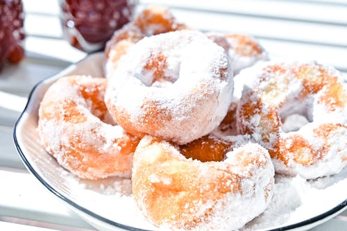 A Close-Up Shot of Doughnuts on a Plate