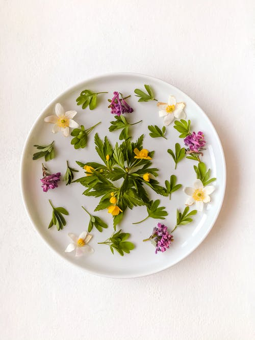 White Green and Pink Floral Ceramic Round Plate
