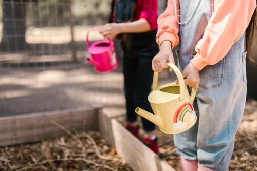 Kids Using Watering Can in Farming