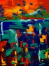 Orange Green and Blue Abstract Painting